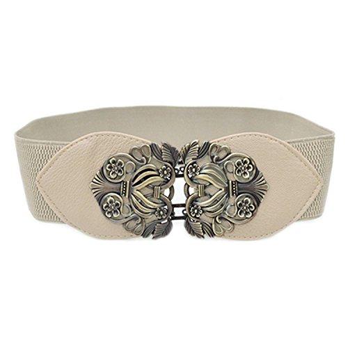 TOOGOO(R) Cintura a vita alta con cinturino elastico elasticizzato a fiore retro'(Beige)