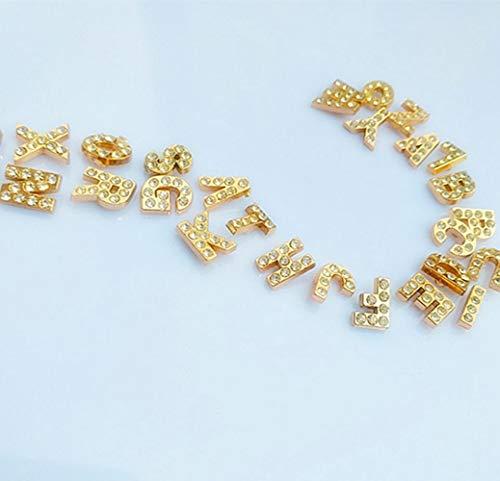 Huien Allory Strass Goudkleur Letters AZ Alfabet Klinknagel Dop Studtas Hoed Riem Jeans Chocker Decoratie Lederen ambachtelijke accessoires, 52 stuks (set)