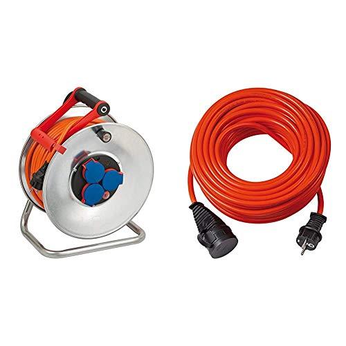 Brennenstuhl Garant S IP44 Kabeltrommel (40m Kabel in orange, Kabeltrommel Outdoor mit Trommelkörper aus Stahlblech) & BREMAXX Verlängerungskabel (10m Kabel in orange)