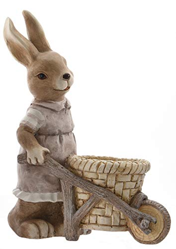 ETC frühlingshafter putziger Deko-Hase Osterhase mit Schubkarre aus Keramik Hasenmädchen oder Hasenjunge (HAsenmädchen Hellbraun)