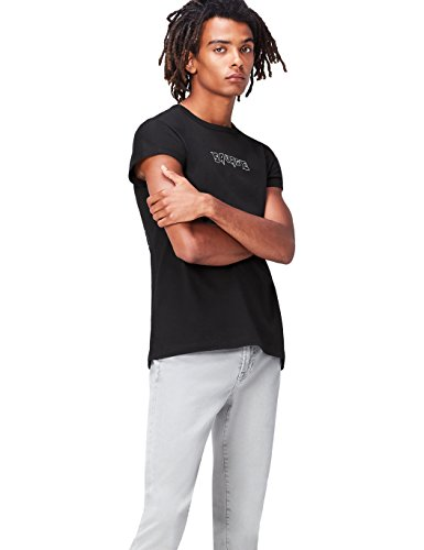 Marca Amazon - find. Camiseta Estampada para Hombre, Negro (Charcoal), M, Label: M