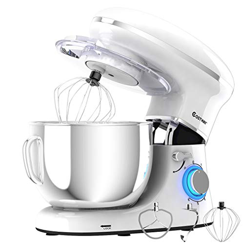 COSTWAY Stand Mixer, 660W Electric Kitchen Food Mixer with 6-Speed Control, 6.3-Quart Stainless Steel Bowl, Dough Hook, Beater, Whisk (White-update)