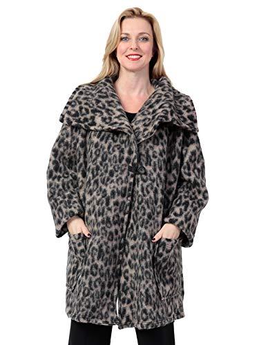 AKH FASHION Kurzmantel Wolle Damen Animal Print Leo, Oversize Jacke beige Damen große Größen A-Linie, XXL Mantel Damen gestreift
