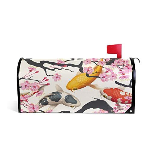 DOSHINE Briefkastenabdeckung mit japanischem Koi Fisch, Sakura Blume, magnetisch, Briefkasten-Abdeckung, Übergröße 64,5 x 53 cm, Heimdekoration