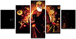 WSJXY 5 Canvas Paintings Frame Canvas Painting for Living Room Posters 5 Pieces HD Printed India Tibetan Buddhism Guru Nanak Wall Art Pictures Home Decor