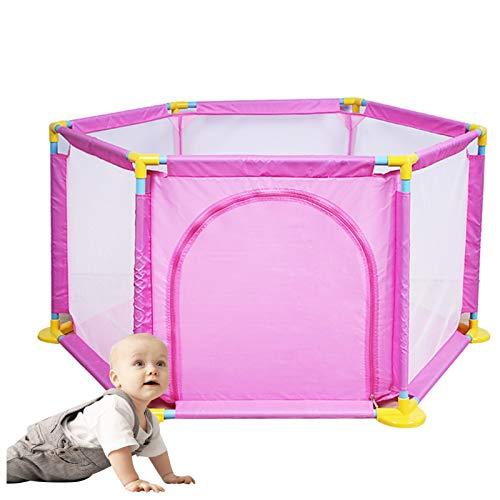 OSHA HJWMM Parque Infantil Bebe, Valla de Juegos for Niños Interior Centro de Actividades for Niños con Malla Transpirable, Estructura de Metal Firme (Color : Pink, Size : 128x66cm)