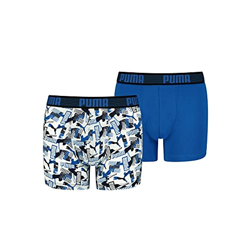 PUMA Boy's All Over Print Logo Boxer Shorts, Blue Combo, 146-152