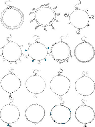 15 Pieces Ankle Chains Bracelets Adjustable Beach Anklet Foot Jewelry Set Anklets for Women Girls Barefoot (Silver 1)