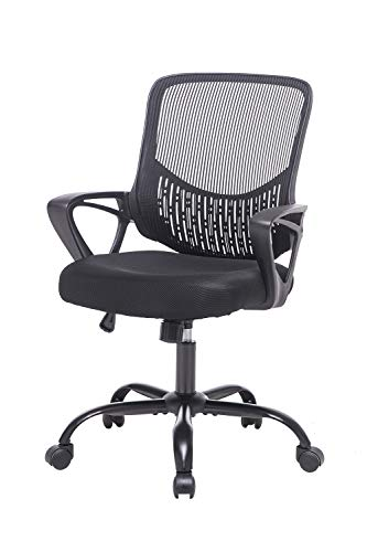 Office Chair Mid-Back Swivel Lumbar Support Chair Ergonomic Mesh Computer Chair with Armrest,Black