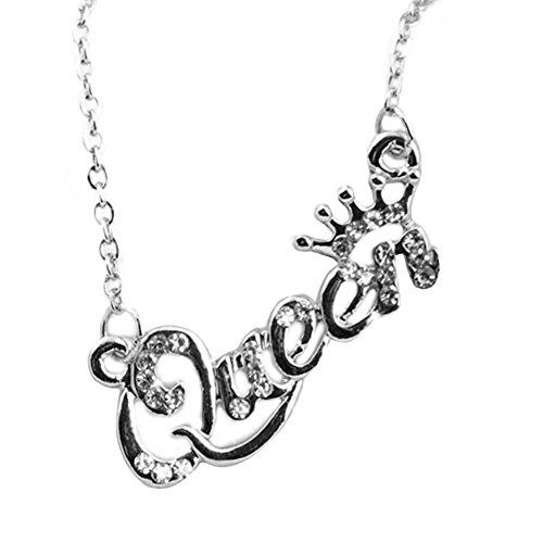 Nuohuilekeji Elegant Jewelry Letter Queen Pendant Shiny Rhinestone Clavicle Chain Necklace - Silver