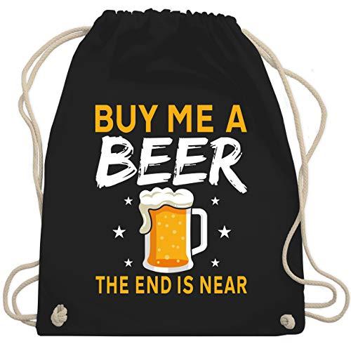 Shirtracer JGA Junggesellenabschied Männer - Buy me a beer the end is near Bier Sterne - Unisize - Schwarz - Statement - WM110 - Turnbeutel und Stoffbeutel aus Baumwolle