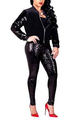 Crystallly Solid Color Sequined Pak Joggen Unieke Trendy Vrouwen Lente Lange Eenvoudige Stijl Sleeve met Rits Meisjes Skinny Slim Fit Mode Outdoor Casual Jas Broek Twee Stuk Set