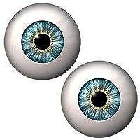 (J) グリーンアイカボーションガラスパーツ (サイズ・個数)20mm(2個) DIY アクセサリーパーツ カボション 目玉 眼球 人形 フィギア ガラス製 手芸 ハンドメイド