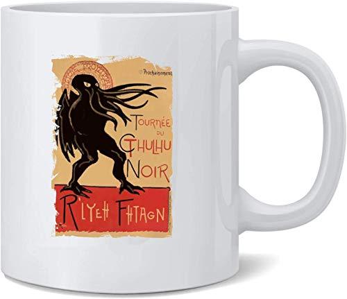 N\A Cthulhu Noir Disfraz de Halloween Divertido Monstruo Taza de caf de cermica Tazas de caf Taza de t Divertido Regalo novedoso