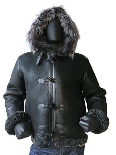 Men B-3 Genuine Shearling Leather Bomber Jacket Winter Aviator Coat Real Fur Hood and Wood Toggle Closure (5X-Large, Black)