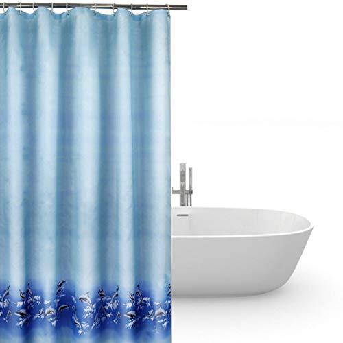 Duschvorhang anti-schimmel 240x200,Bad vorhänge wasserdicht blau,duschvorhang 240 cm breit,Dusch Vorhang anti-Bakteriell waschbar mit 12 ring,Polyester Badewanne Duschvorhänge für Badezimmer