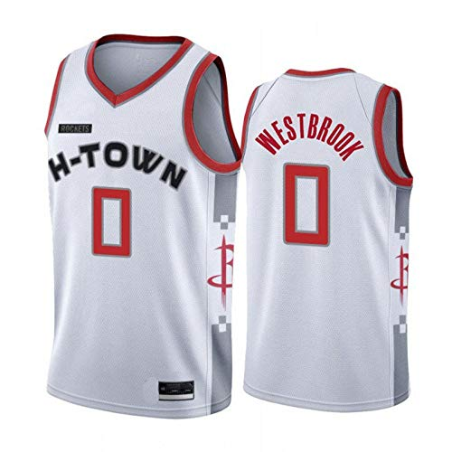 NBA 2019 Rockets Jersey City Edition Harden # 13 Westbrook # 0 Camiseta De Baloncesto Uniforme Deportivo Sin Mangas,White(0)-S