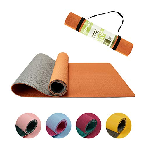 TOPLUS Yogamatte, TPE Gymnastikmatte Trainingsmatte rutschfest Pilatesmatte, Yoga Fitnessmatte mit Asana Linie + Traggurte, 183*61*0.6cm Orange & Hellgrau