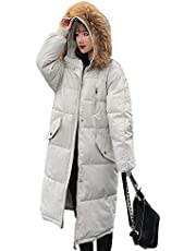 Coat Dames Cotton Winter, comfortabele dikke warme jas met bont jas Trim Hood winddicht Type Diamond Faux Fur Hooded Forens van de Reis van de kogelvis Lange,White,L