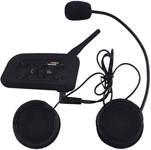 V6 Moto Bluetooth Casco Intercomunicador Intercomunicador Auricular, dúplex Completo Moto inalámbrico Interfono Conecte hasta 6 Pasajeros, Radio FM/GPS / MP4 / 1200M (1Pack)