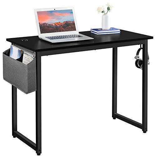 Yaheetech Mesa Escritorio para Oficina Despacho Mesa de Ordenador Mesa de Estudio Negro 100x50x75cm