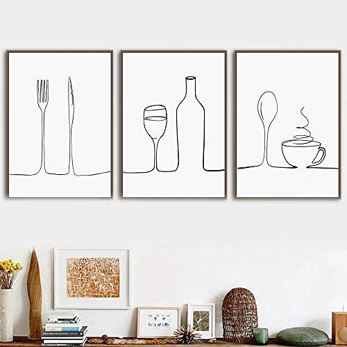 Cuadros modulares Estilo nórdico Impreso Línea de carteles Café Vino tinto Cuchillo y tenedor Arte de la pared Pintura en lienzo para cocina Decoración del hogar Sin marco-50x70cmX3