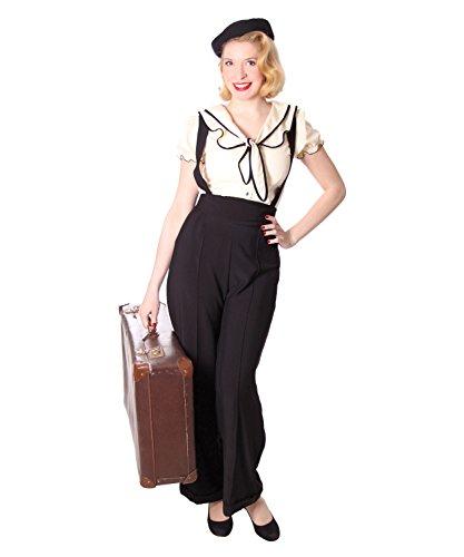 SugarShock Damen Marlene Hose Marnie Suspender, Größe:XL, Farbe:Schwarz