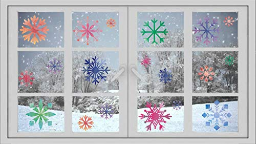 TOARTi Christmas Miticolor Snowflake Window Clings Decal (100 pcs), Winter Snowflake Colorful Stickers for Glass or Window Decoration, Home Decor
