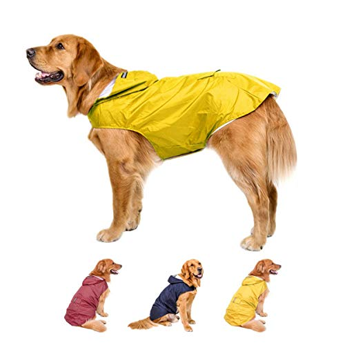 Large Dog Raincoat Reflective Adjustable - Waterproof Pet Raincoats for Dogs with Hoodies - Lightweight Dog Poncho with Reflective Strips Rain Jacket for Large to Medium Dogs Yellow Blue Red Slicker