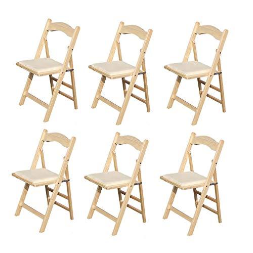 LJ Stuhl Klappstuhl aus Holz, Esszimmerstuhl, Home Office Stuhl, Weiß , 6er Pack,Holzfarbe