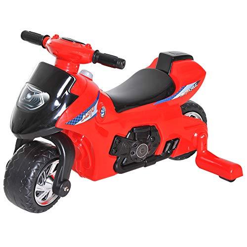 Homcom Porteur Enfants Moto 12-36 Mois avec stabilisateurs dim. 66L x 46l x 43H cm Effets Lumineux...