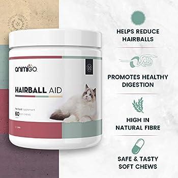 Animigo Hairball Aid - Produit Friandise pour Les Chats - Limite Les Boules de Poils - Riche en Fibres, Favorise la Digestion - Ingrédients Naturels sans Produits Chimiques - Anti Boule de Poil