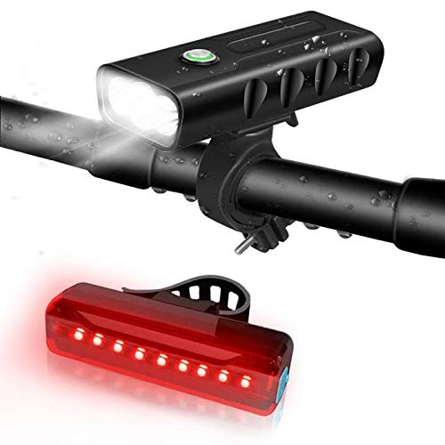 Bicycle Light USB Rechargeable 5200mAh LED Bicycle Headlights 3 Light Mode High Brightness 1200 Lumens Headlights Small Flashlight Combination IPX5 Waterproof Outdoor(Light Front +Tail Light