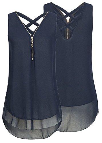 Flying Rabbit Damen Shirt Chiffon Bluse Langarmshirt mit Reißverschluss Vorne V-Ausschnitt Tops T-Shirt (XL, Short-Marine)