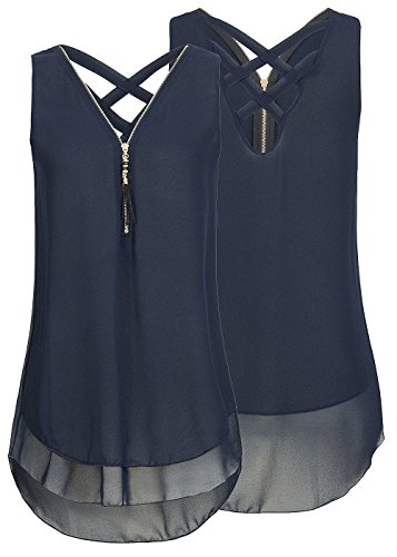 Flying Rabbit Damen Shirt Chiffon Bluse Langarmshirt mit Reißverschluss Vorne V-Ausschnitt Tops T-Shirt, Marine, S