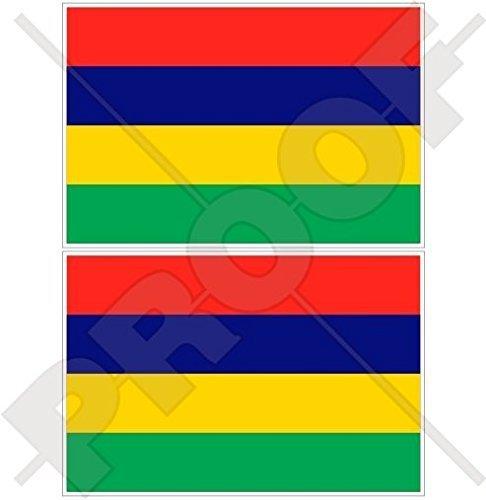 MAURITIUS Mauritianische Flagge Mauritius Morris Commonwealth 100mm Auto & Motorrad Aufkleber, x2 Vinyl Stickers