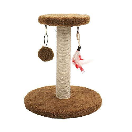 YANGYUAN Cuerda de sisal de árbol de Gato Que rasguña Poste, Centro de Actividades de Gatito, con Pelota Colgante y Juguetes de Peluche for Gatitos pequeños Gatos escalando Jugando