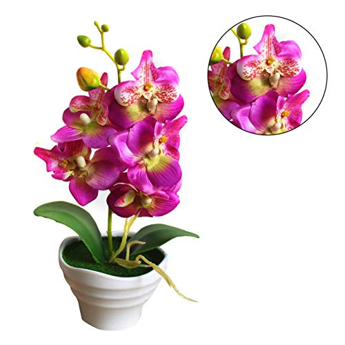 Jannyshop Flores Artificiales de Orquídea con Jarrón Ornamentos de Decoración del Hogar(Púrpura)