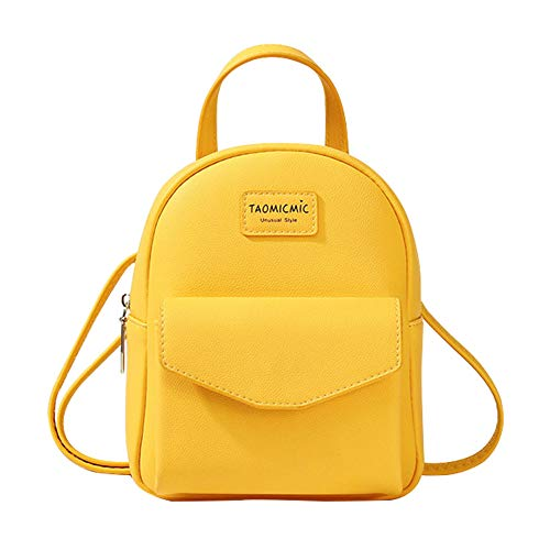 Aomiduo Mini Backpack Women, Small Crossbody Purse Travel Shoulder Bags Handbag Wallet Leather Satchel School Bag Daypack, Gifts for Girls, Yellow