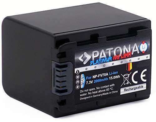 PATONA Platinum (echte 2060mAh) Ersatz für Akku Sony NP-FV70A (NP-FV70 usw.) mit Infochip - UL-Zertifiziert -