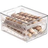 36 Eggs Holder for Refrigerator, Plastic Egg Storage Container for Fridge,Large Capacity Slide Design 2-Multi-Layer Household Egg Fresh Storage Box for Countertop Kitchen,12.6