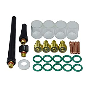 TIG Gas Lens Collet Body & #10 Pyrex Cup Kit DB SR WP 9 20 25 TIG Welding Torch 26pcs by RIVERWELDstore
