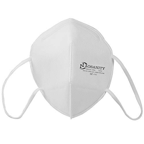 10 AOSANITY Masken FFP2 Mund Nase Schutzmaske Gesichtmaske Atemschutzmaske 5 Lagen Filtration Schutzmaske für Erwachsene - 2