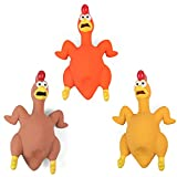 Rubber Chicken Dog Toy Squeak, 3 Pack Latex Screaming Chicken Dog Toys That Makes Noise, Funny Squeaky Interactive Puppy Dog Toys for Boredom, Dog Fetch Toy with Squeakers for Small Medium Large Breed
