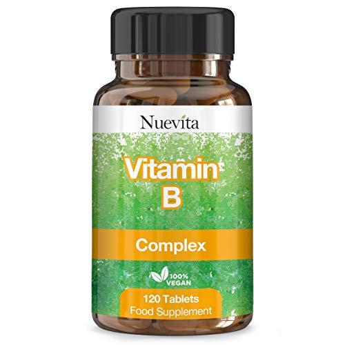 Vitamin B Complex 120 Tablets 4 Month Supply | Contains All 8 B Vitamins B1, B2, B3, B5, B6, B12, Biotin & Folic Acid High Strength Vitamin B Complex Vegetarian & Vegan