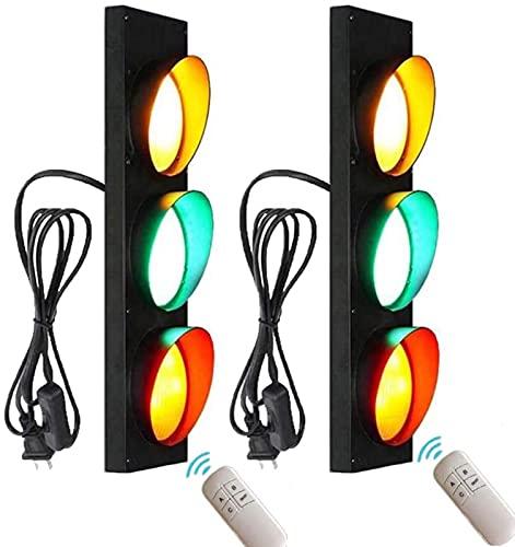 MWKL Semáforo Bar Restaurante Lámpara de Pared con Interruptor y Enchufe LED Industria Luces de Pared Retro Señal de tráfico de Advertencia Apliques de Pared con Control Remoto