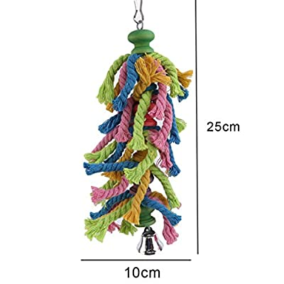 Lnlyin Wood Hanging Bird Toy Parrot Cage Cylinder Rope Toy For Parrot Hamster Small Animal,Mushroom head,25 * 10cm by Lnlyinl