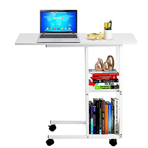 Cocoarm Computertisch mit Rollen, Mobile Laptoptisch Nachttisch Beistelltisch Mit 2 Ebenen offenem Stauraum Geeignet für Bett Sofa Balkon 80x40x72cm