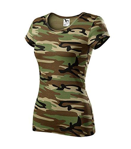 T-Shirt für Damen Ladies Shirt Pure - Größe und Farbe wählbar- (M, Camouflage braun)