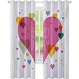 Cortinas para dormitorio, diseño abstracto con texto en inglés «Happy Valentine Day» con texto en inglés «Love Romance» (52 x L95), multicolor
